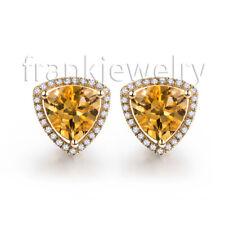 Stick Earrings 14K Yellow Gold Natural Diamonds Engagement Citrine Earrings
