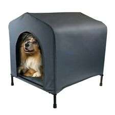 DOG ELEVATED PET CANVAS HOUSE W/CUSHION PUPPY/ADULT KENNEL INDOOR OUTDOOR