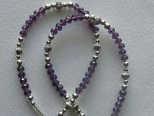 PURPLE CRYSTAL BEADS EYEGLASS HOLDER READERS CHAIN NECKLACE LOBSTER CLASPS