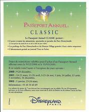 pass Disneyland PARIS calendrier PASSEPORT ANNUEL CLASSIC 2000-2002 TTB