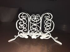 Vintage White Metal Cast Iron Mid Century Modern Napkin Letter Holder Spain