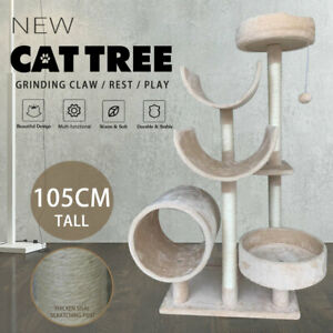 105cm Tall Cat Tree Tower Large Cat Condo Scratching Posts Cat Climbing Frame
