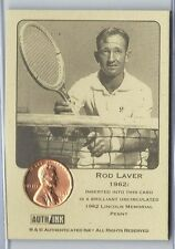 1 only  RARE COIN CARD  - ROD LAVER  WITH CLASSY PROTECTOR