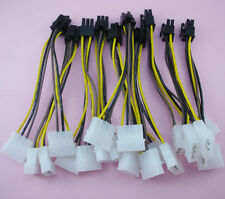 10 pcs 4 Pin IDE Y Molex to 6 Pin PCI-E Power Adapter cable for video card 15 cm