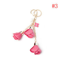 Leather Flowers Keyring Charm Pendant Purse Bag Key Ring Chain Keychain Gift