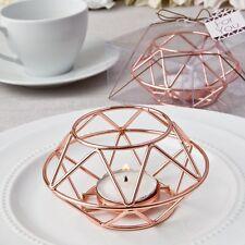 12 Geometric Design Rose Gold Metal Tea light Candle Holder Wedding Gift Favors
