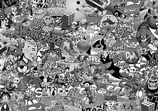 NEW 80's Black & white STICKERBOMB SHEET-X1 - 1m x 1.5m(EURO/ DRIFT/JDM/CARTOON)