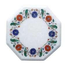 "12"" Semi Precious Stones Handicraft Inlay Marble Table Top Home Room Decor"