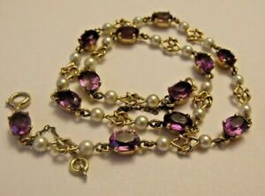 9ct Antique Edwardian Yellow Gold 15ct Amethyst & Seed Pearls Necklace 37,5cm