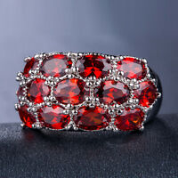 925 Silver Fashion Women Jewelry Oval Cut Gorgeous Garnet Wedding Ring Size 6-10