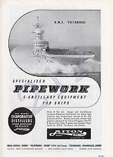 MITSUBISHI ZOSEN - Destroyer AKIZUKI - AITON Pipework HMS VICTORIOUS 1960 ADVERT