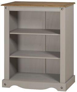 Corona Bookcase Grey Wax Small 3 Shelf Unit Solid Pine by Mercers Furniture®