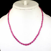 Natural Ruby Necklace Top Quality Pinkish Red Transparent Oval Beads 925 Clasp