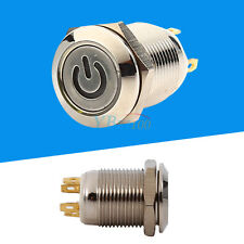 12V 9.5mm Waterproof LED Metal Power Momentary Push Button Switch Car Modified