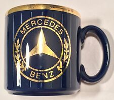 Mercedes Benz Navy Blue Mug w/ Gilt Design and Blue Pinstripes - Made in England