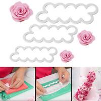 3Pcs Rose Cake Flower Petal Cutter Fondant Sugarcraft Decorating Mould Cookware