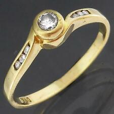 By-pass Bezel Solitaire & Accent style 18k Solid Yellow GOLD 7 DIAMOND RING Sz M