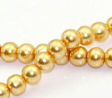 8mm YELLOW HONEYSUCKLE Round Glass Pearls 50 beads bgl0434