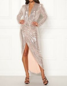 John Zack Sequin  Dress  Wrap  V Plunge Midi Maxi