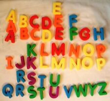 Lot of 43 Colorful Plastic Fridge Alphabet Magnets - All Letters Present, Extras