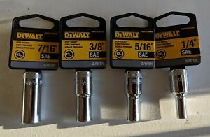 """DEWALT Deep Sockets 3/8"""" Drive 12 Point Multiple Sizes SAE and Metric Sizes"""