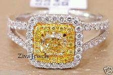 Certified 2.00ct Cushion Cut Fancy Yellow Diamond Engagement Ring 14K White Gold