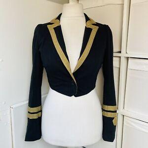 Bolongaro Trevor Black & Gold Cropped Jacket Size M Military Steampunk