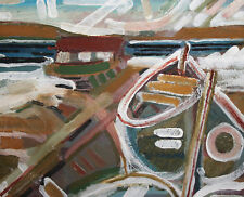 1985 Abstract oil painting boat landscape signed