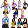 Women Wetlook Metallic T-shirt Long Sleeves Slim Crop Top Blouse Rave Dance Club