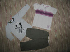 LOT H&M SNOOPY Taille 9-12 MOIS TEE.SHIRT + POLO + PANTALON TAILLE AJUSTABLE