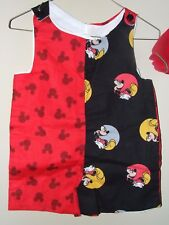 Boy Boutique 9M 12M 18M Mickey Mouse Jon Jon Romper Red Black Shortall Disney