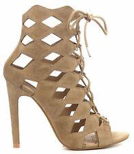 Heidi-3 Cut Out Open Toe Lace Up Gladiator Ankle Bootie Stiletto Heel Shoe Nude