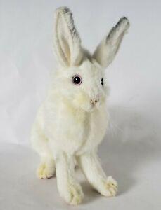 "Hansa Plush Bunny Rabbit White Small 8"" Sitting Up Filament Whiskers Realistic"