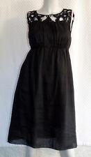 b4b37f47d8 MAX STUDIO    Gorgeous Little Black Dress Linen with Crochet Neck Trim SIze