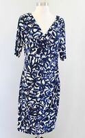 Lauren Ralph Lauren Navy Blue White Abstract Print V Neck Ruched Wiggle Dress 10