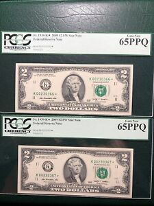 #2 2009 $2.00 FRN K Stars #366/367* 65Q