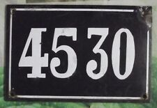 Large old black French house number 4530 door gate wall plate enamel metal sign