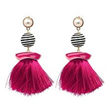 NEW HOT PINK WHITE PEARL TASSLE FRINGE  EARRINGS HOLIDAY LADIES GIFT HP3