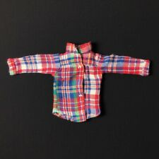 "Sindy Seperates 1981 red blue green tartan blouse shirt top 44033 fit 12"" doll"
