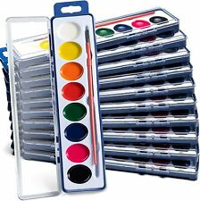Watercolor Paint Set 12 Pack 8 Colors Each, Washable, Painting Tray & Brush