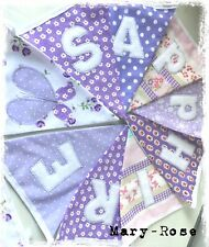 Baby Girl Personalised Name BUNTING LUXURY Fabric Inc.LAURA ASHLEY Lilac Pink