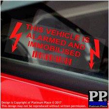 10x This Vehicle,Car,Van,RED,Taxi,Mincab,Alarm and Immobiliser Security Stickers
