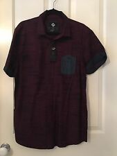 Cotton On Men's Collared Short Sleeve Burgundy Shirt Size Large