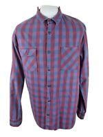 Mens Barbour Shirt Denim Red Check Xl 46 Chest Vgc Leo Shirt