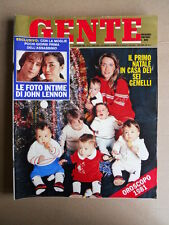 GENTE n°52 1980 Foto intime di John Lennon Parto 6 gemelli Callas De Andrè [D37]