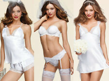 6de0415719f45 Victoria s Secret 32C BRA SET+SLIP BABYDOLL+cami+shorts satin WHITE Bridal