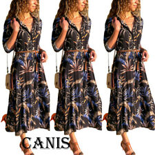 Women's Summer Boho Floral Long Sleeve Long Maxi Dress Party Beachwear Sundress