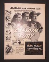Print Ad 1941 Movie CAPTAIN FURY Australia's Robin Hood  Vintage Art Hal Roach