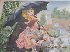 RAIN RAIN GO AWAY  Nursery Rhyme Lithograph Print by Feodor Rojankovsky