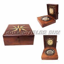 Vintage Maritime Sailor Nautical Box Brass Compass & Watch Marine Gift Wood Art